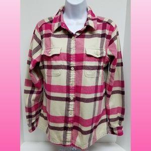 Patagonia Womans Plaid button down shirt Size 10